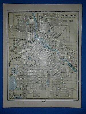 Vintage 1902 MINNEAPOLIS, MINNESOTA Map ~ Old Antique Original Atlas Map