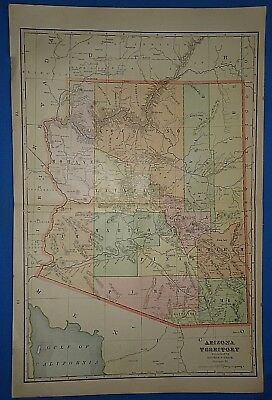 Vintage 1902 ARIZONA TERRITORY Map Antique Original Atlas Map