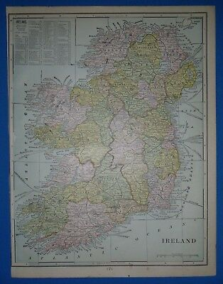 Vintage 1902 IRELAND Map ~ Old Antique Original Atlas Map