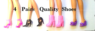 New Barbie QUALITY SHOES 4 pairs evening wedding dress outfit accessories