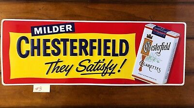 Chesterfield Cigarettes 1950's Vintage Advertisement Tin Sign Embossed 34 x 12