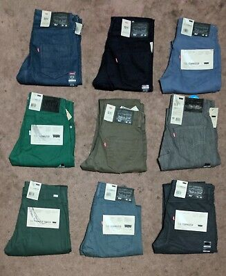 Levis 511 Slim Fit Commuter Jeans Blue Grey Green Brown 3M Reflective Stretch