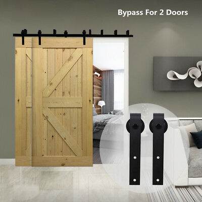 4-20FT Antique Sliding Barn Wood Door Hardware Closet Track Kit Bypass 2 Doors
