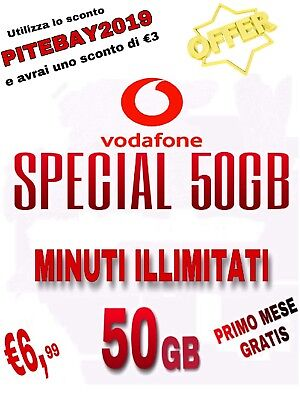Special 50Gb Unlimited Tutto Illimitato + 50Gb Clienti Già Vodafone Coupon €6