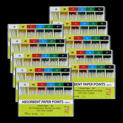 100 X Dental Endodontic Absorbent Paper Points Root Canal Taper 0.04 15-40#