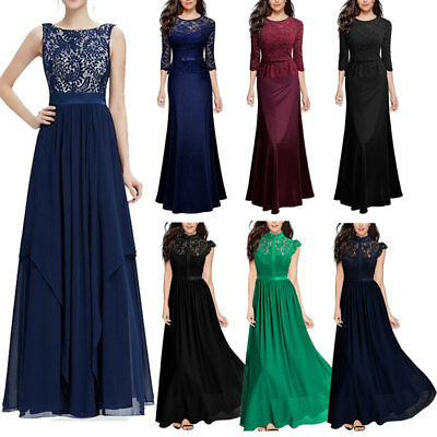 Women Long Chiffon Maxi Dress Formal Evening Party Bridesmaid Wedding Ball Gown