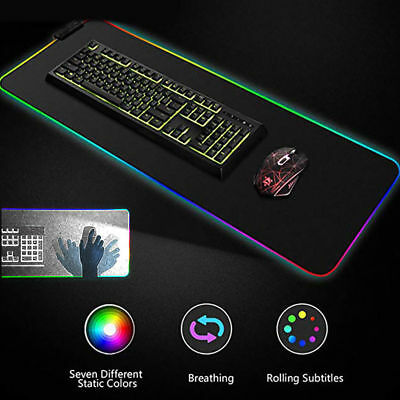 """Large RGB Colorful LED Lighting Gaming Mouse Pad Mat for PC Laptop 35""""x25"""""""