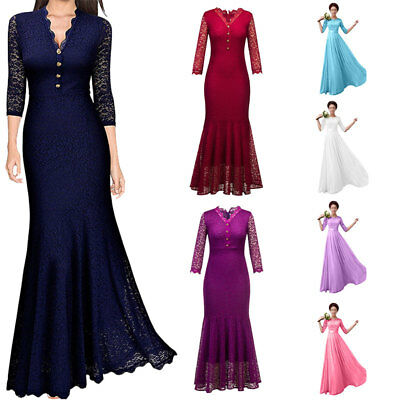 Ladies Wedding Bridesmaid Dress Lace Long Formal Party Cocktail Prom Ball Gowns