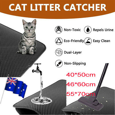 Cat Litter Mat Waterproof Double-Layer Trapper Foldable Pad Pet Rug Home Comfort