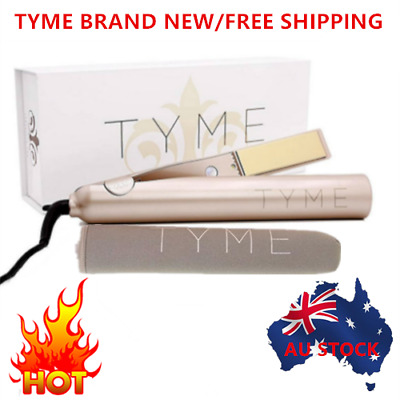 2 in 1 Iron Flat Hair Straightener Curling Gold TYME Plated With Sleeve AU Plug