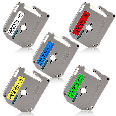 "5PK MK231-731 Multicolor 12mm 0.47"" P-Touch Label Tape Compatible Brother  PT90"