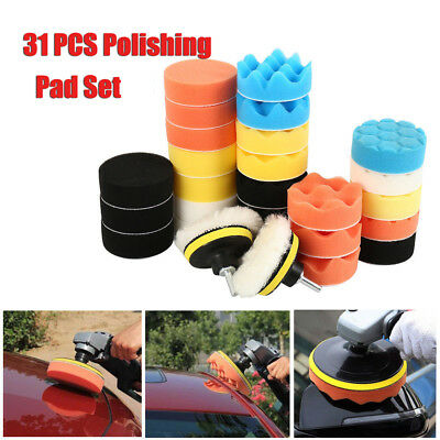31PCS 3 Inch Polishing Pad Sponge Buff Buffing Kit Set For Car Polisher 80mm UK