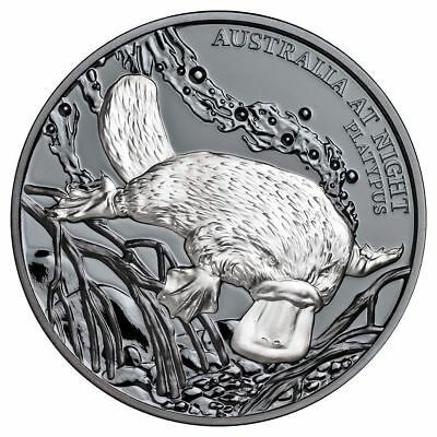 2018 Niue $1 Australia at Night Platypus 1oz Silver Black Proof Coin