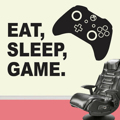 Eat Sleep Game Vinyl Wall Sticker Decal Childrens Bedroom Xbox One Gaming