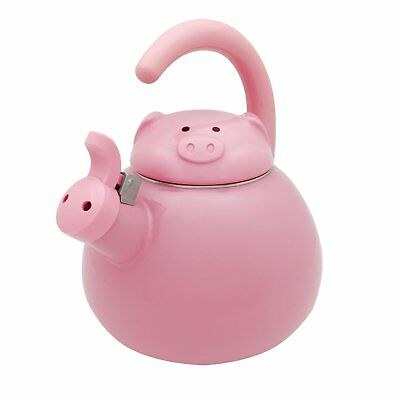 Whistling Tea Kettle Tea Pot Stainless Steel with Enamel, Pink Pig 2.1 Quarts