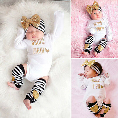 3Pcs Newborn Infant Baby Girls Romper Jumpsuit Leggings Headband Cotton Outfits