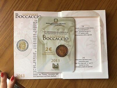 Repubblica Italiana Folder Moneta Commemorativa 2 Euro 2013 Boccaccio Fdc