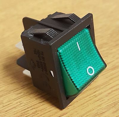 Illuminated Lincat Green Rocker Switch 250V AC 4PIN Double Pole On Off 2NO