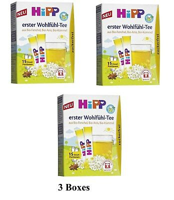 3 Boxes HiPP Organic Instant Fennel Herbal Tea sugarfree Made in Germany New