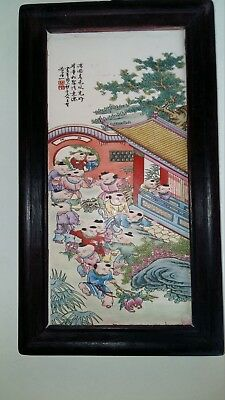 Chinese Hand Painted Plaque Tile Script Framed Famille Rose