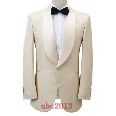 Men's Champagne Suit Jacquard Paisley Groom Tuxedos Dinner Wedding Prom Suit