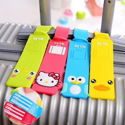 Cartoon Luggage Tag Holder Striped Name Address ID Suitcase Bag Labels Travel