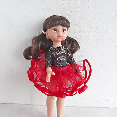 "Doll's Tutu Skirt Princess Red Tulle Ballet Clothes 13"" Paola Reina Les Cheries"