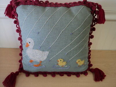Vintage Handmade Embroidered Throw Pillow Needlepoint Cross Stitch Folk Art
