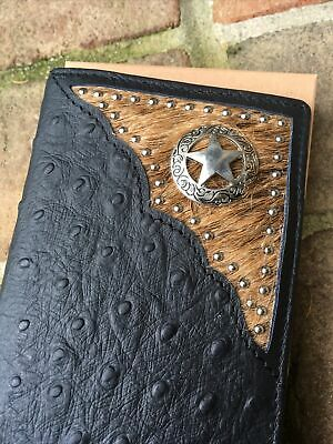 QUALITY! Genuine Leather Ostrich Men's Bifold Long Wallet Texas Star Western