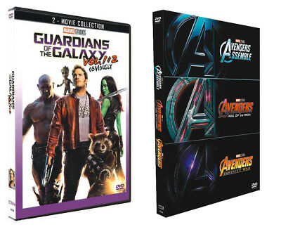 Marvel Guardians of the Galaxy Vol 1 2 Avengers 1 2 3-Movie Collection Box DVD