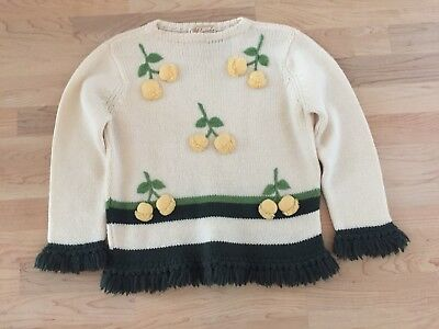 Vtg LM Cunningham Wool Sweater 38 Yarn Embroidered Flowers Fringe 50s/60's Women