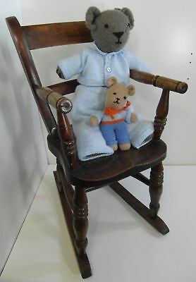 Vintage Antique Child's Rocking Chair Welsh Oak Dolls Size Dark Wood