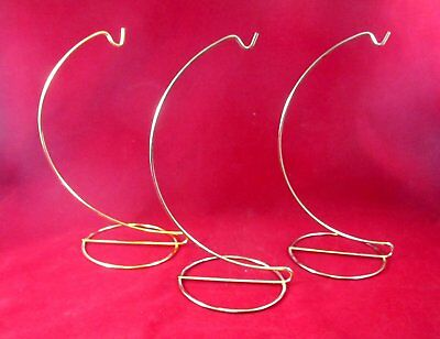 "3 Gold Tone 9-1/4"" tall Christmas Tree Ornament Hangers"