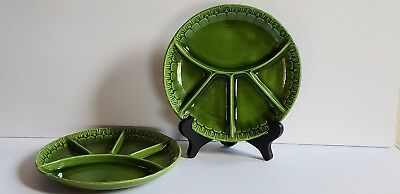 Maddux of California Pottery Green Divided Plates Set of 2