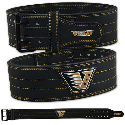 VELO Power Weight Lifting Belt Leather Gym Back Support Training Fitness