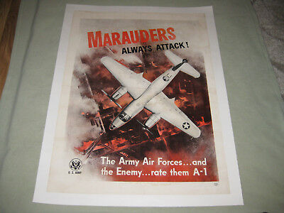 "Rare, Original Wwii Army Air Force Recruiting Poster ""marauders Always Attack!"""