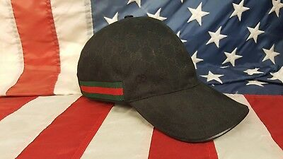19a7996452c Gucci Baseball Cap GG Canvas Leather authentic Mens Womens made in Italy