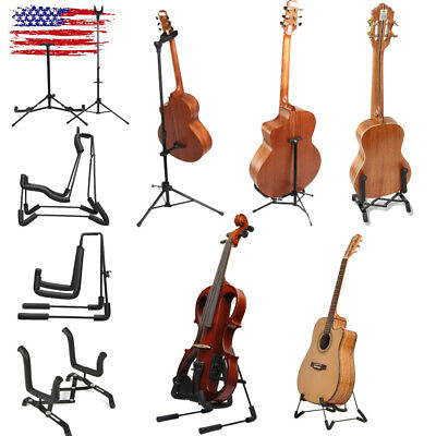 Folding Electric Acoustic Bass Guitar Stand A Frame Musical Instruments Black US