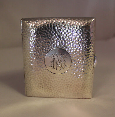 Hand Hammered Style Sterling Silver Cigarette Case Hallmarked Edwardian Era