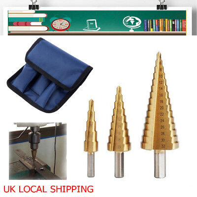 3pcs HSS Steel Large Step Cone Drill Bits Set Metal Hole Cutter w/ Storage Pouch