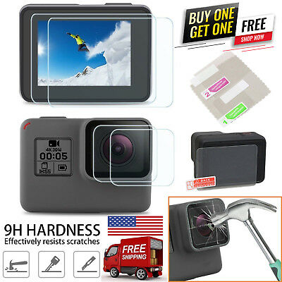9H Tempered Glass Screen Portector + Lens Film For GoPro HERO 7 Black 6 5 4 US
