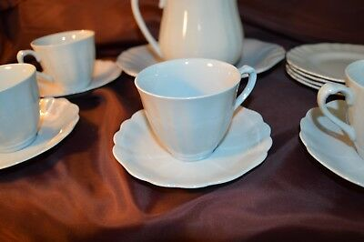 Four setting J&G Meakin Glamour Sol Pale Blue tea set with serving plate and jug
