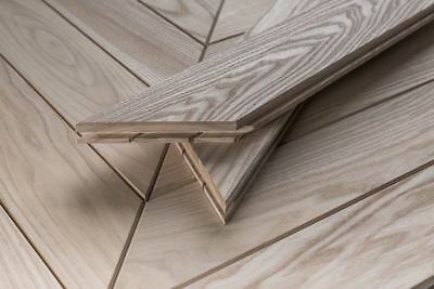 Ash French Chevron Solid Wood Flooring Unfinished Pefc Certified