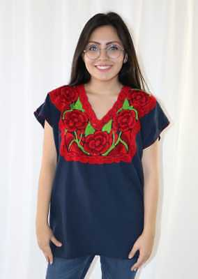 Handmade Womens Embroidered Mexican Blouse Large Navy Blue Floral Bohemian