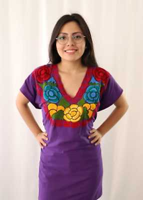 Handmade Womens Embroidered Mexican Blouse XL Purple Floral Bohemian Fiesta