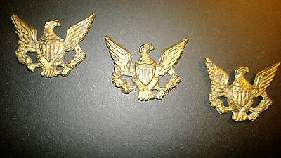 Antique Rare  American Eagle  Brass Plaque Lot Of (3)