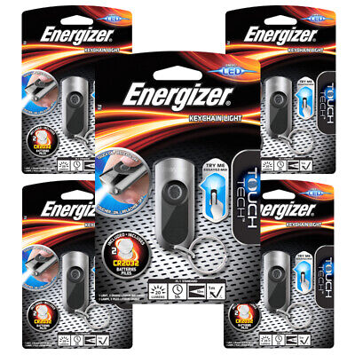 5 x Energizer Touch Tech LED Keychain Key Ring Torch Flashlight Batteries inc