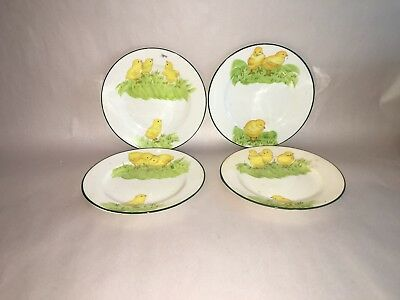 Antique Royal Chelsea Porcelian Plates With Peeps Chicks England