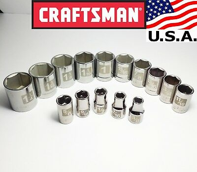 "(Brand New) Craftsman USA-made 15pc Socket Set (1¼ to ⅜) ~ 1/2"" drive, SAE, 6-pt"