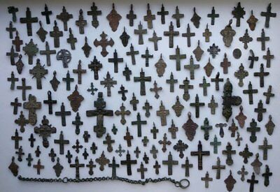 Metal detector finds.Mix lot  ancient crosses (The age of 11-19)142 pieces. N52